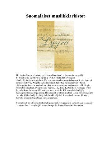 Suomalaiset musiikkiarkistot - Kansalliskirjasto