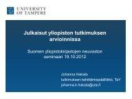 Julkaisut yliopiston tutkimuksen arvioinnissa - Kansalliskirjasto