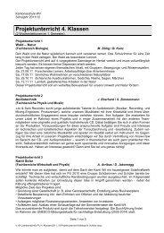 Projektunterricht 4. Klassen - Kantonsschule Wil