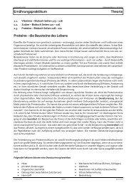 Ernährungspraktikum Theorie Proteine - d - Kantonsschule Wil