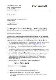 Anleitung Anmeldung bei Projekten BU I - Kantonsschule Wil