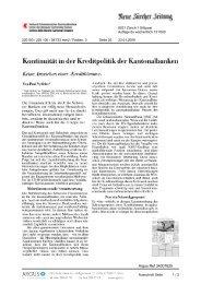 Kontinuität in der Kreditpolitik der Kantonalbanken