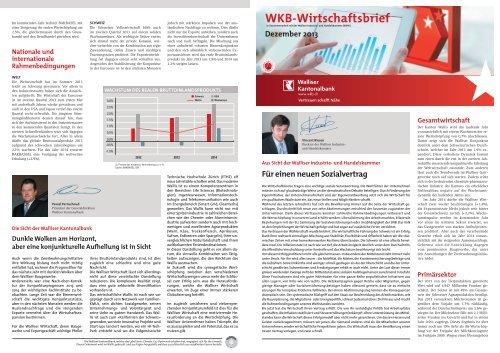 WKB-Wirtschaftsbrief 12/2013 - Kantonalbanken