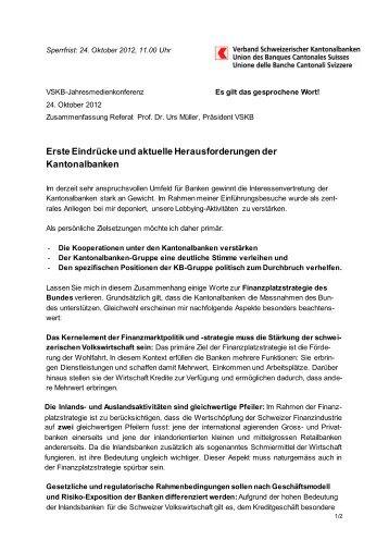 Zusammenfassung des Referates - Kantonalbanken