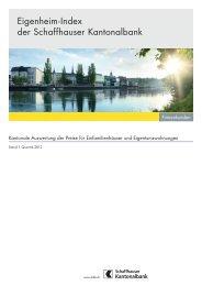 Eigenheim-Index der Schaffhauser Kantonalbank - Kantonalbanken