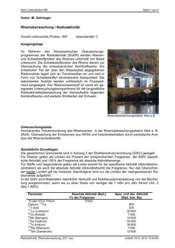 Rheinüberwachung / Radioaktivität