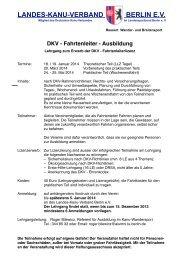 DKV - Fahrtenleiter - Ausbildung - Landes-Kanu-Verband Berlin