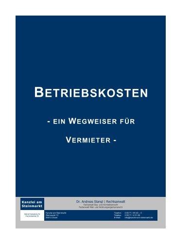 Betriebskosten – Ein Wegweiser für Vermieter – (Stand 10/2013)