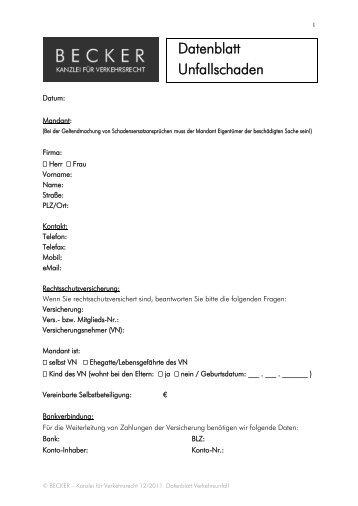Formular Verkehrsunfall - BECKER - Kanzlei für Verkehrsrecht