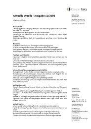 Aktuelle Urteile - Ausgabe 11/2006 - kanzlei-goetz.de