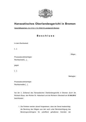 3 U 1/12 - Hanseatisches Oberlandesgericht Bremen