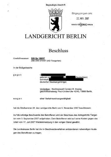 Landgericht die erste Wiedereinsetzung - Kanzlei Hoenig Berlin