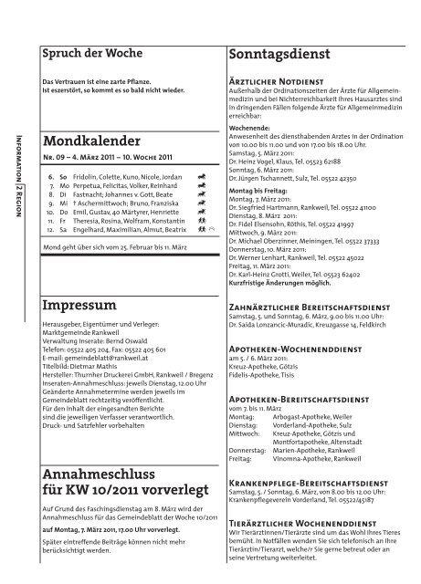 Großer Rankler Faschingsumzug. Samstag, 5. März 2011 ab 14.00 ...