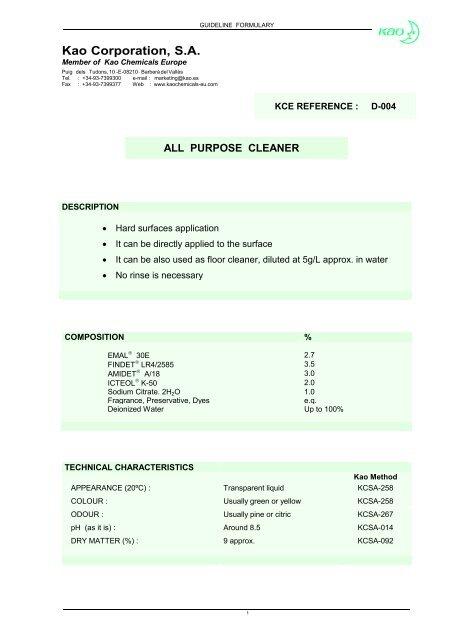 Kao Corporation, S A  - Kao Chemicals Europe