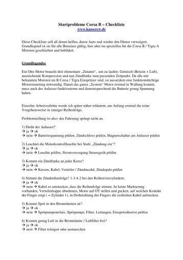 Startprobleme Corsa B – Checkliste - KC! Kaos Crew...www ...