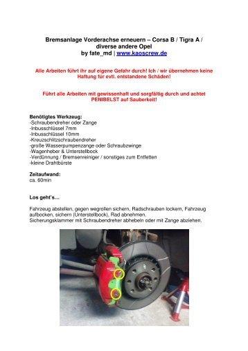 Bremsenwechsel - KC! Kaos Crew...www.kaoscrew.de...