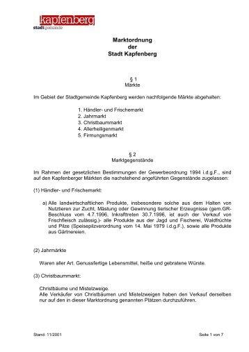 Marktordnung der Stadt Kapfenberg - Stadtgemeinde Kapfenberg