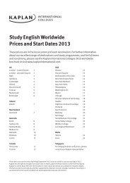 Study English Worldwide Prices and Start Dates 2013 - Kaplan ...