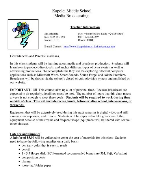 Class Description (PDF) - Kapolei Middle School