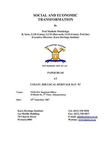 Social and Economic Transformation COSATU JHB 18 ... - Kara.co.za