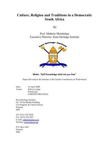 Culture, Religion and Traditions in a Democratic South ... - Kara.co.za