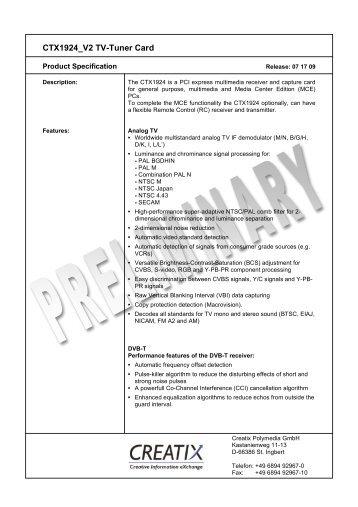 CTX1924 V2 Tv-Tuner Card - creatix