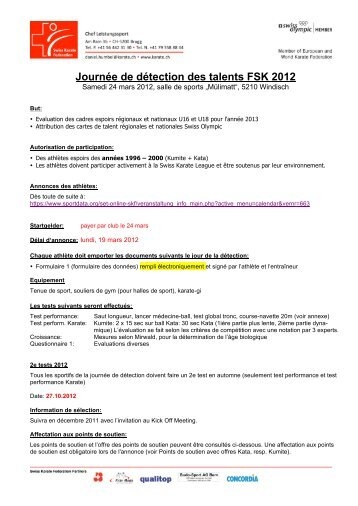 Journée de détection des talents FSK 2011