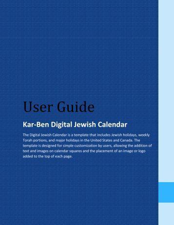 Get a Digital User Guide pdf here - Kar-Ben Publishing