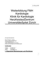 Weiterbildung FMH Kardiologie Klinik für Kardiologie ...