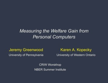 Measuring the Welfare Gain from Personal ... - Karen A. Kopecky