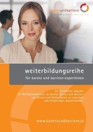 Folder Weiterbildungsreihe - Karenz und Karriere