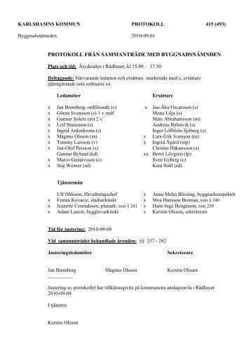 protokoll från sammanträde med byggnadsnämnden - Karlshamn