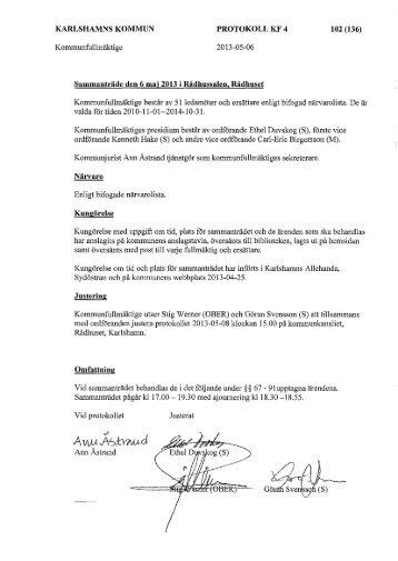 Protokoll KF 130506 - Karlshamn