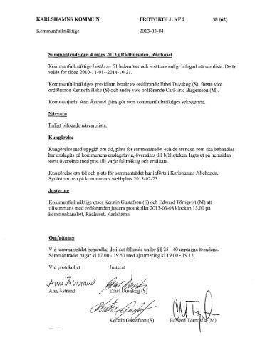 Protokoll KF 130304 - Karlshamn