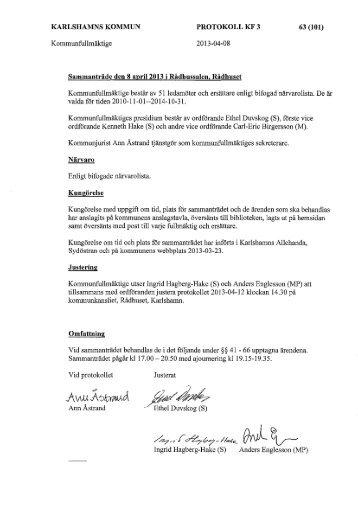 Protokoll KF 130408 - Karlshamn