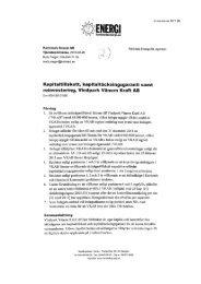 Kapitaltillskott, kapitaltäckningsgaranti samt reinvestering, Vindpark ...