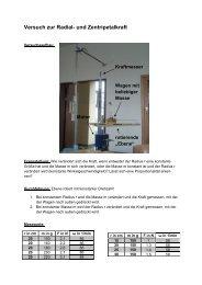 Versuch zur Radial- und Zentripetalkraft - Karl-Ziegler-Schule