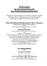 Weihnachtskonzert 2011.Termime.Änderungen - Karl-Ziegler-Schule