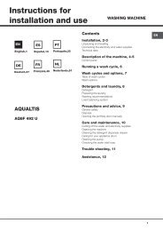 Instructions for installation and use - Hotpoint