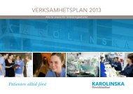 VERKSAMHETSPLAN 2013 - Karolinska Sjukhuset