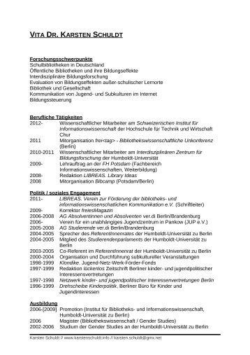 Vita als PDF-Datei - Karsten Schuldt