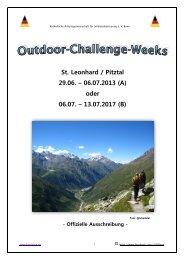 Offizielle Ausschreibung KAS-Outdoor-Challenge-Week 2013