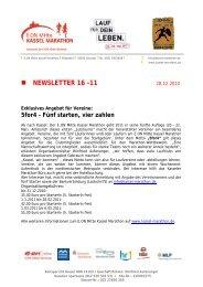 NEWSLETTER 16 -11 - Kassel Marathon