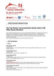 PRESSEINFORMATION Die Top-Starter und ... - Kassel Marathon
