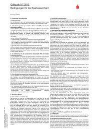 Bedingungen für die SparkassenCard - Kasseler Sparkasse