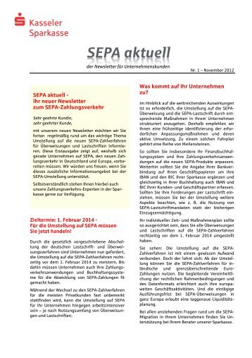 SEPA aktuell - Kasseler Sparkasse
