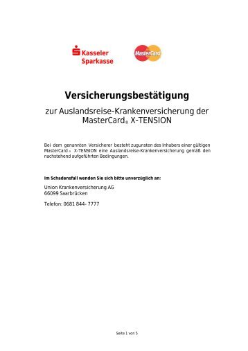 Bedingungen für die Auslandsreise-Krankenversicherung - Kasseler ...