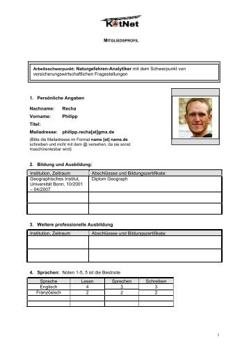 Mailadresse: philipp.recha[at]gmx.de 2. Bildung und Ausbildung
