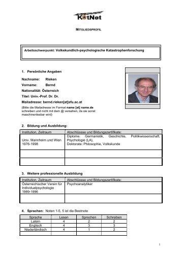 1. Persönliche Angaben Nachname: Rieken Vorname: Bernd ...