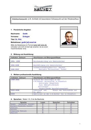 Erdogan Titel: Dr. Phil. Mailadresse: gedik - Katastrophennetz e.V.